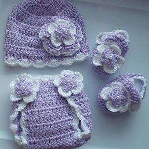 Crochet Baby Girl Diaper Cover Outfit Photo Prop for Sale in Plant City, FL