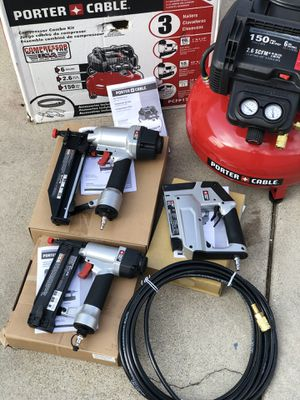 Porter-Cable 6 Gal. 150 PSI Portable Electric Air Compressor, 16-Gauge Nailer, 18-Gauge Nailer and 3/8 in. Stapler Combo Kit (3-Tool) for Sale in Long Beach, CA