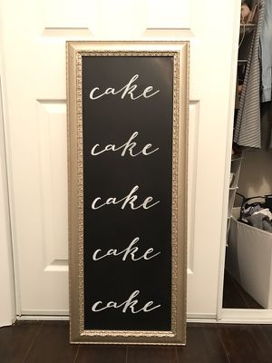 """Gold/Chalkboard """"cake"""" sign for Sale in West Palm Beach, FL"""