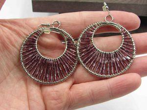 Vintage Large Purple Beaded Dangle Earrings Costume Jewelry Wedding Anniversary Beautiful Everyday Minimalist Cute Sexy for Sale in Lynnwood, WA