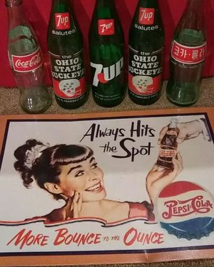 Vintage Pop bottles and Pepsi sign. for Sale in Columbus, OH