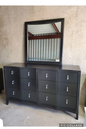 Dresser TV media entryway table with mirror refinished black and silver for Sale in Cedar Hill, TX