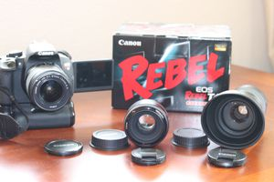Canon t4i DSLR Camera with 3 Lenses, 3 Batteries, and Camera Grip for Sale in Temecula, CA