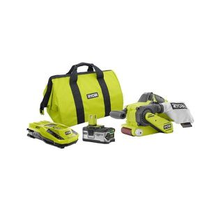 Ryobi 18-Volt ONE+ Lithium-Ion Cordless Brushless 3 in. x 18 in. Belt Sander Kit with 4 Ah LITHIUM+ Battery, Charger, and Bag for Sale in Temple, GA