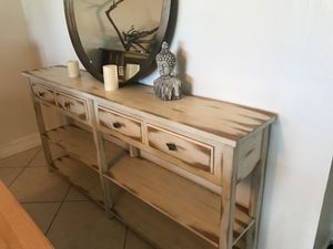 Beautiful coastal modern console table. Solid and distressed finish. New over 600 first 125 takes it for Sale in Fort Lauderdale, FL