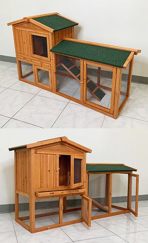 """(NEW) $110 Wood Rabbit Hutch Pet Cage w/ Run Asphalt Roof Bunny Small Animal House 55""""x20""""x34"""" for Sale in Whittier, CA"""