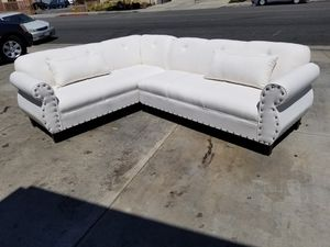 NEW 7X9FT CLYDE WHITE FABRIC SECTIONAL COUCHES for Sale in Henderson, NV