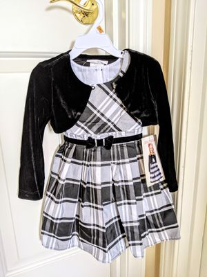 Jona Michelle Toddler Dress with Velvet Vest- Black/White - Size 2T for Sale in Auburn, WA