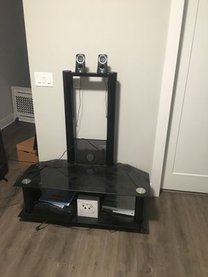 PRICE DROP Black Glass Entertainment Center TV Stand for Sale in Columbus, OH