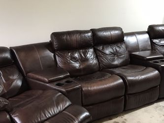 Beautiful Leather media reclining sofa for Sale in Austin,  TX