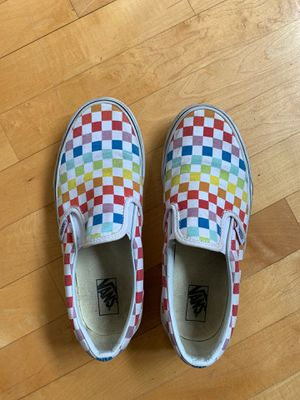 Rainbow checkered slip-on Vans for Sale in Snohomish, WA
