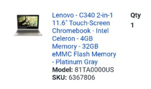 Lenovo chrome book in box new touchscreen grey with receipt for Sale in Tacoma, WA
