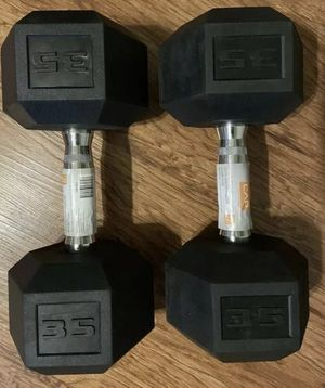 New pair of cap 35lbs and 40lbs dumbbells price listed below for Sale in Medford, MA