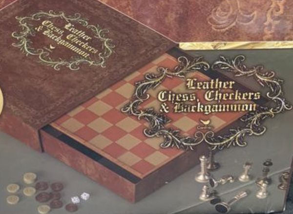 Leather chess, checkers and backgammon