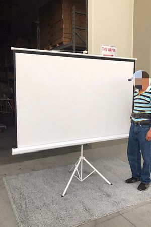 "Brand new 100"" portable projector screen 16:9 ratio wide screen with tripod pull up matte white for Sale in Whittier, CA"