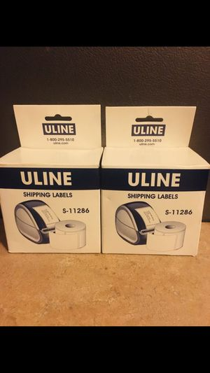 """Uline Mini White Shipping Labels - White Paper Dims: 2 1⁄8 x 4"""" Each Roll = Qty.220 Labels for Sale in Katy, TX"""