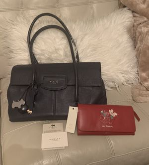 Authentic NEW Radley of London leather Handbag, purse charm and wallet Navy and red new for Sale in Gladewater, TX