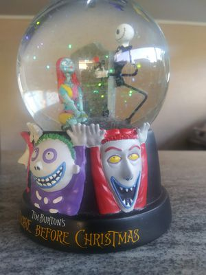 Rare Nightmare Before Christmas lock shock and barrel snow globe for Sale in Montebello, CA