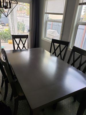Gray/brown dining room table with 6 chairs plus bonus bench! for Sale in San Fernando, CA