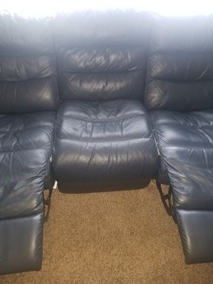 Dark blue leather recliner couch for Sale in Murfreesboro, TN