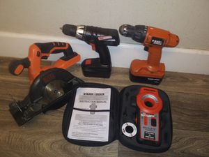 Black and Decker 20-Volt MAX Lithium ion Cordless 5-1/2 in. Circular Saw / 2 Cordless Drills 18v w/batteries / B & D Bullseye Laser Level for Sale in Phoenix, AZ