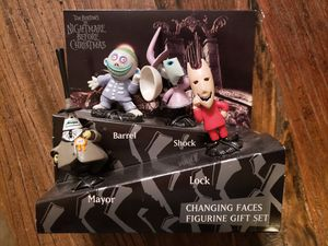 Nightmare Before Christmas Changing Faces Figurine Gift Set Mayor, Lock, Shock & Barrel for Sale in San Antonio, TX