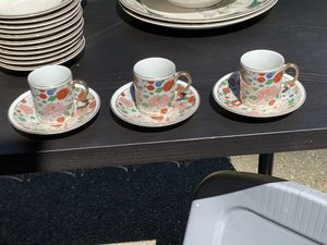 Three Pearl China Gold Inlaid Tea cups w/Saucers for Sale in Port Orchard, WA