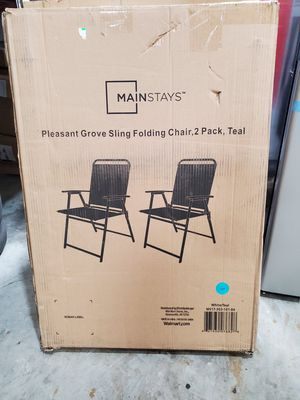 Mainstays Pleasant Grove Sling Folding Chair, Set of 2, Teal for Sale in Casselberry, FL