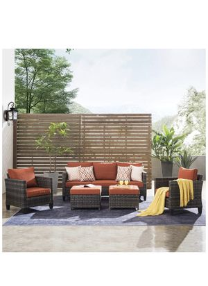 Patio furnitue, Outdoor Furniture Sets,Morden Wicker Patio Furniture sectional with Table and 2 Pillows,Backyard,Pool,Steel (Grey-Orange red) for Sale in Chino, CA