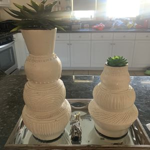 White Vases With Fake Flowers for Sale in Eastvale, CA