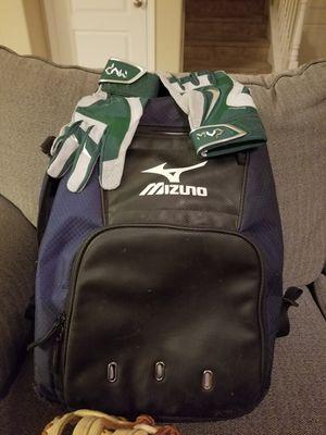 Mizuno baseball backpack. New Nike batting gloves and Rawlings gold glove 1st baseman's glove for sale for Sale in Fresno, CA