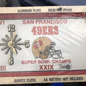 Vintage San Francisco 49ers Super Bowl Champs NFL Tin Plate Clock for Sale in Turlock, CA