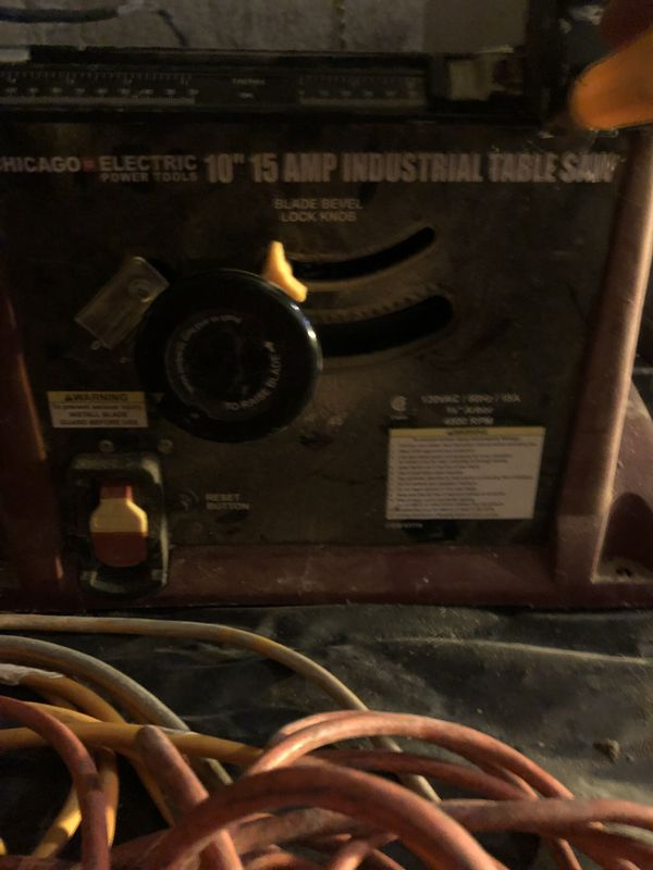 """Chicago Electric Power Tools 10""""-15 AMP-4800 RPM Industrial Table Saw"""