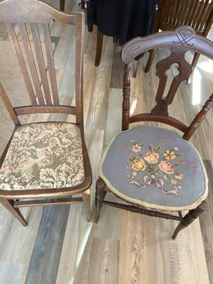 Vintage Antique Solid Wood Tapestry Chairs for Sale in Huntington Beach, CA