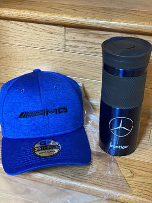 Brand new AMG L-XL new era cap with brand new Snap-seal TRAVEL TUMBLER for Sale in Rockville, MD