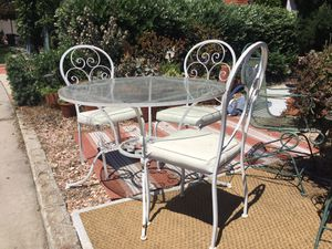 Patio set, fountain, basketball hoop, bakers rack, yard art, etc. for Sale in San Diego, CA
