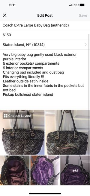 Coach diaper bag (baby bag) for Sale in Staten Island, NY