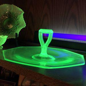 Antique Green Uranium Depression Glass Serving Tray for Sale in Centerville, GA