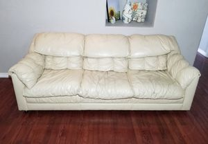 Cameo Furn. Mfg. Light Beige Genuine Leather 3-Seat Couch for Sale in West Linn, OR