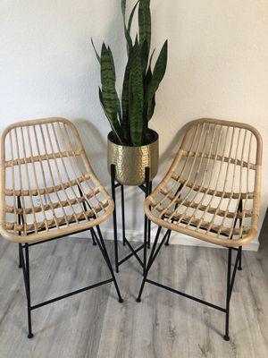Bohemian rattan wicker stool set for Sale in Austin, TX