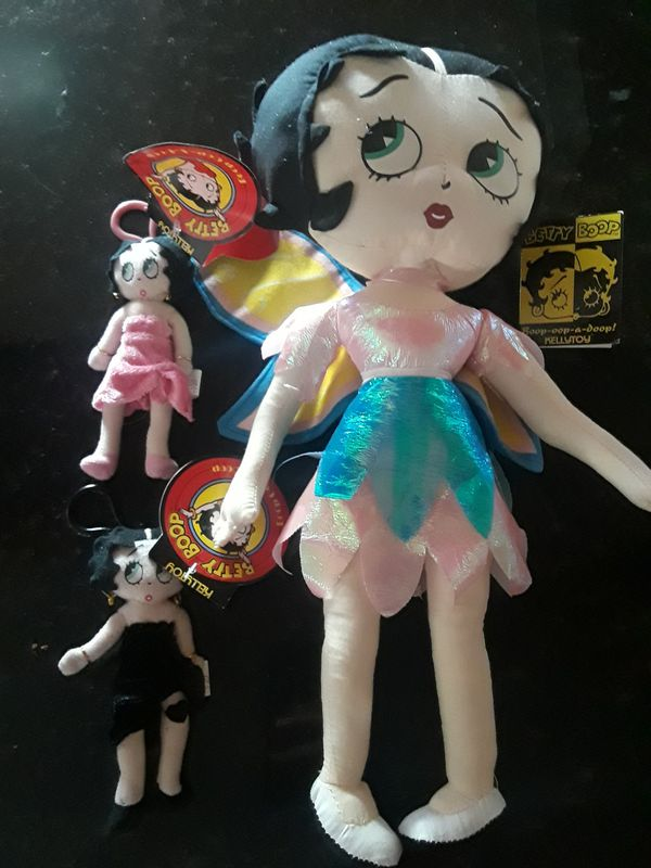 Collectible new with tags Betty Boop plush toy and two keychains