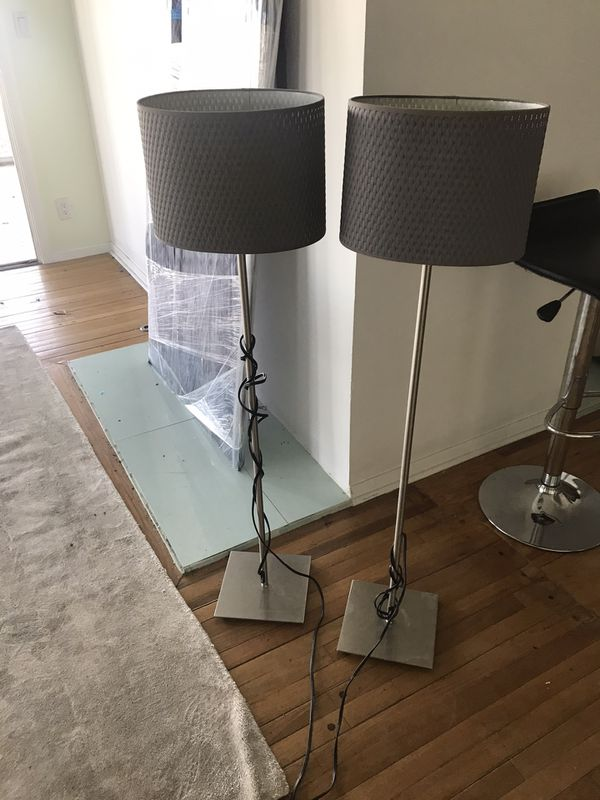 Pair ikea lamps gray