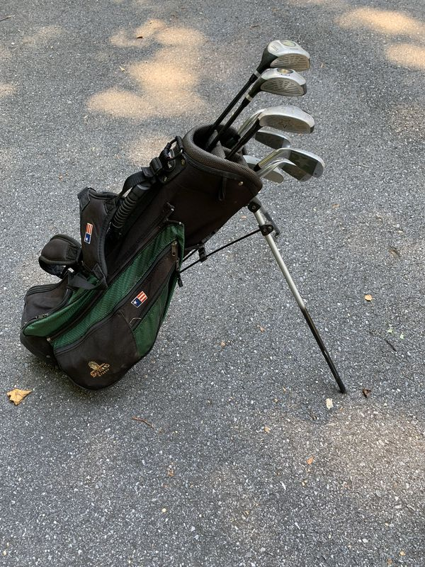 US Kids Golf Clubs and Bag (Green clubs)