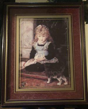 Girl with Kitten Print in frame for Sale in Detroit, MI