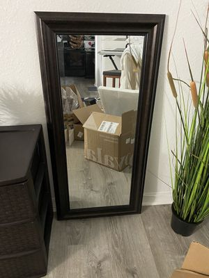 Mirror medium size 42in H X 19in Nice dark brown wood color for Sale in Sunrise, FL