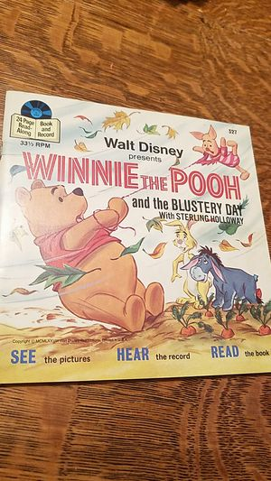 DISNEY'S WINNIE THE POOH AND THE BLUSTERY DAY READ ALONG BOOK AND RECORD 1969 Disney 327 for Sale in Cincinnati, OH