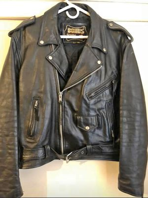 Black Leather Biker Jacket for Sale in Montebello, CA