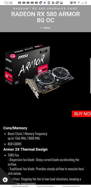 2 for $249 - MSI Radeon Rx 580 8gb for Sale in Bowie, MD