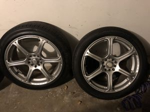 2 18 inch wheels unknown brand no bends or cracks ride perfect **THROW ME A OFFER** for Sale in Fairfax, VA