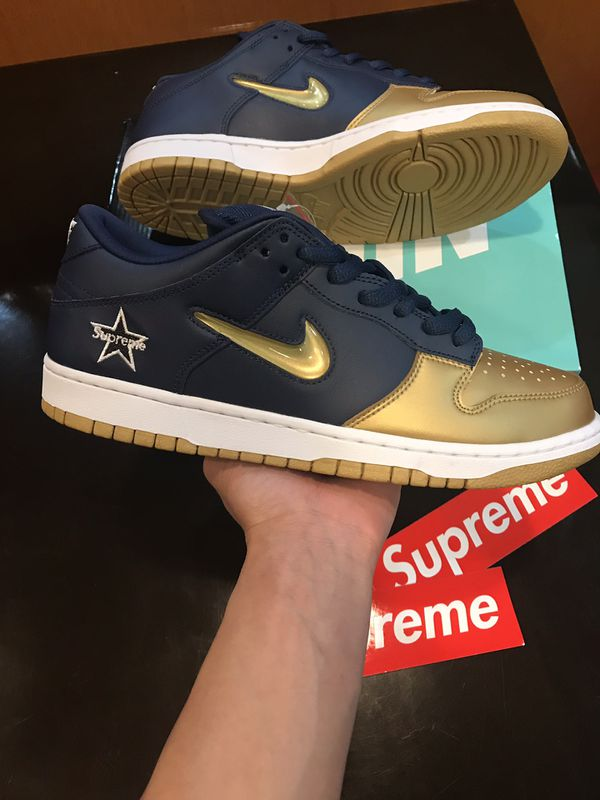 Nike Supreme SB Dunk Low Gold Blue Size 10